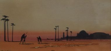 FRED ALDENS, North African Scene, watercolour, framed and glazed. 24 x 12 cm.