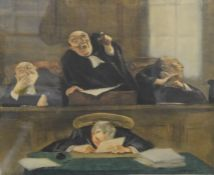 GASTON HOFFMANN (1883-1926) French, Courtroom Scenes, a pair, limited edition prints,