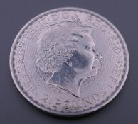 A 2015 silver Britannia coin.