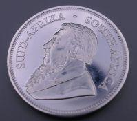 A 2018 silver Krugerrand coin.