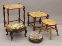 Five various stools.
