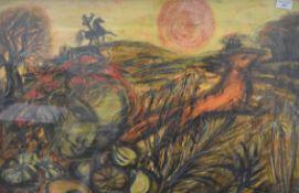 MONICA ENGLISH (1920-1979) British (AR), Warrior on Horse Back, oil and chalk,