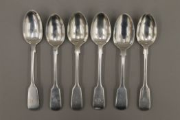 Six Fiddle pattern teaspoons by London makers George Adams, late 19th century.