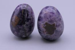 Two fluorspar eggs. Each approximately 4 cm long.