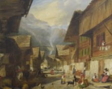 19TH CENTURY, Alpine Street Scene, oil on canvas, indistinctly initialled, dated 1837, framed. 74.