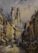 C J KEATS, a pair of Continental Townscapes, watercolours, each framed and glazed. 28.5 x 39 cm.