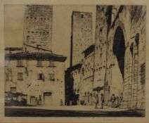 LOUIS CONRAD ROSENBERG (1890-1983) American, six various Continental Town Scenes, etchings, signed,