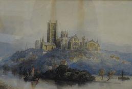 ENGLISH SCHOOL (19th century) British, Riverside Cathedral Landscape, watercolour,
