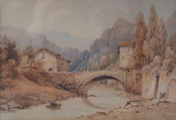 H HILL (1802-1876) British, Continental Landscape with Stone Bridge, watercolour,