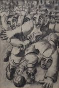 In the Style of BERYL COOK, Football Match, charcoal on paper, framed. 53.5 x 79 cm.