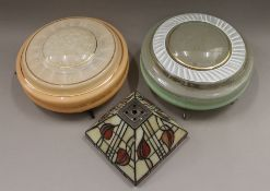 Three plafonniers and a leaded glass shade. The latter 10 cm high.