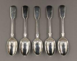 Five Fiddle pattern teaspoons by London makers George Maudsley Jackson, 1885.