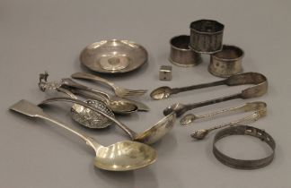 A quantity of silver cutlery, napkin rings, etc. 15.2 troy ounces.