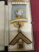9ct hallmarked gold and enamel Past Master's Masonic Jewel for Commercial Lodge No. 3628,
