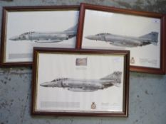 Three framed prints of Phantoms Aircraft from the 64, 43, and 111 Squadrons, 35cm x 49cm