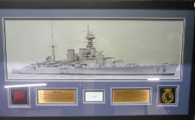 Large framed display for HMS Hood, featuring a large black and white photograph of the ship, a