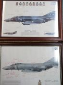 Two framed prints of Phantoms, from the 56 and 6 Squadrons, both framed and signed by various crew