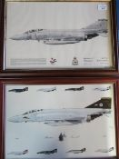 Framed print of Phantom Aircraft Squadron 43, and a framed Phantom Farewell print by S Black no. 1/