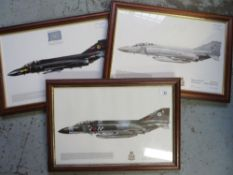 Three framed prints of Phantom Aircraft, Squadrons 43, 19 and 111 (3), 49cm x 34cm including frames