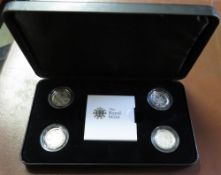 Royal Mint 2010 UK Capital City four-coin presentation set of silver proof £1 coins, in case with