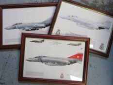 Three framed prints of Phantom Aircraft, Squadrons 56, 2280CU and 29 (3), 49cm x 34cm including