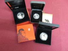 Royal Mint 2014 Lunar Year of the Horse and 2015 Lunar Year of the Sheep, UK One Ounce Silver
