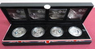 Royal Mint Countdown to London 2012 Olympic Games Silver Proof £5 four coin set, in original box