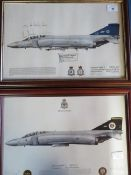 Two framed prints of Phantom aircraft, one of 64 squadron, signed by the 1990 F4 display crew,