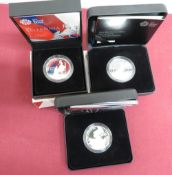 Royal Mint Britannia £2 silver Bullion coins 2014 15 & 16, in boxes with card slips (3)