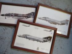 Three framed prints of Phantom Aircraft, squadrons 74, 92 and 43 (3), 49cm x 34cm including frames