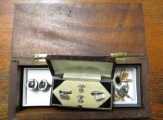 Pair of hallmarked silver lozenge shaped Victoria 1837-97 Jubilee cufflinks decorated with