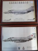Two framed squadron prints of Phantom Aircraft, 23 and 43 Squadrons, both signed by various crew