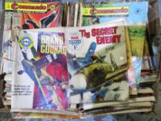 Box containing extremely large quantity of The Commando paperback comics, including The Black Eagle,