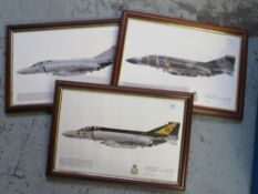 Three framed prints of Phantom Aircraft, Squadrons 111, 92 and 29 (3), 49cm x 34cm including frames