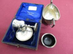 Victorian hallmarked silver travelling Communion set, London 1847, in fitted case inscribed The Rev.