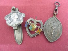 Art Nouveau silver plated Chatelaine clip L6cm, a Victorian white metal & enamel brooch and a