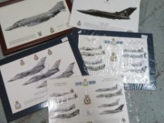 Unframed print of squadron 43 The Leuchars with various aircraft, mounted print of squadron 43 RAF
