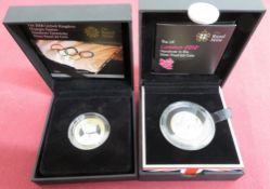 Royal Mint The Official London 2012 Handover to Rio Olympic £2 Silver Proof Coin, & 2008 UK