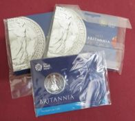 Royal Mint Britannia £50 silver Bullion coin and two similar for 2012, in original packaging (3)