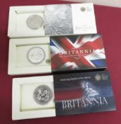 Royal Mint Britannia £2 silver Bullion coins 2009 10 & 11, in card slips (3)
