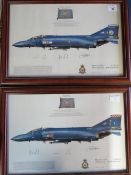 Two framed prints of Phantom Aircraft, Squadrons 19 and 92, both signed by various crew members,
