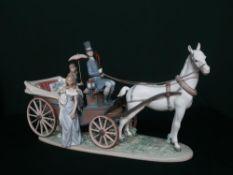 "Lladro figurine 1521 ""The Landau Carriage"", H30cm L55cm."