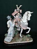 "Lladro figurine 1777 ""Farewell Of The Samurai"", in original box. H46cm, including base. (A/F)"