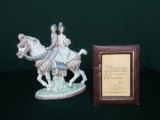 """Lladro figurine 1472 """"Valencian Couple On Horse"""" Limited Edition Number 75/3000, with signed and"""