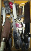 Parachute packers knife with MOD Ordnance mark and dated 1988, Rodgers Sheffield pruning knife,