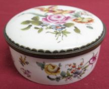 19th C continental gilt metal mounted porcelain circular box hand painted with flowers, with