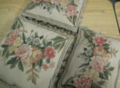 20th C pair of needlework tapestry cushions with tassel borders and a similar larger square