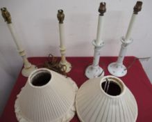 Pair of Edwardian ceramic dressing table candlesticks decorated with roses, converted to