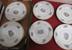 Set of eleven 19th C continental porcelain dessert plates with sepia decorated with shells and