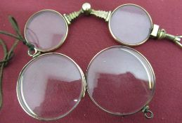 Victorian rolled gold lorgnette and two rolled gold monocles (3)